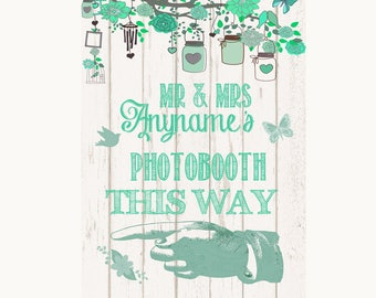 Green Rustic Wood Photobooth This Way Left Personalised Wedding Sign