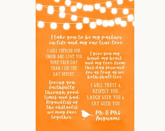 Orange Watercolour Lights Romantic Vows Personalised Wedding Sign