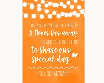 Orange Watercolour Lights In Our Thoughts Personalised Wedding Sign