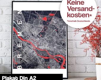 Poster - Bremen map midnight