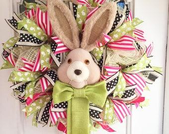 Easter Wreath, Easter Bunny Wreath, Deco Mesh Wreath, Spring wreath, Easter Deco Mesh Wreath, Easter Burlap Wreath