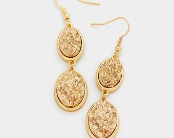 Gold Druzy Drop Earrings
