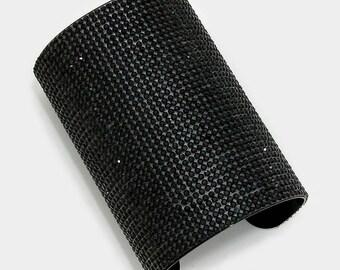 Black Wide Rhinestone Crystal Cuff Bracelet