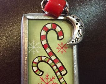Candy cane charm necklace