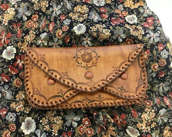 Lovely Layered Vintage Handmade Tooled Leather Wallet with initials I.B