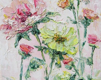 """Rose Painting oil original oil painting  5""""x7"""" canvas modern Provence style palette knife pink flower painting textured"""
