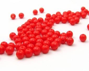 50 round czech glass beads 4mm red orange