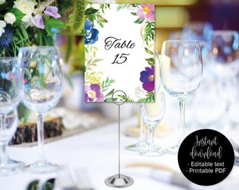 Wedding Table Numbers Template, Wedding Table Names Printable, Wedding Table Download, Wedding Decor, Watercolor Floral Flowers, BORDER-5