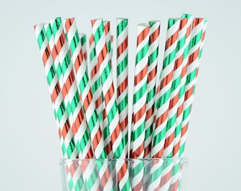 Green/Red Foil Striped Paper Straws - Party Decor Supply - Cake Pop Sticks - Party Favor