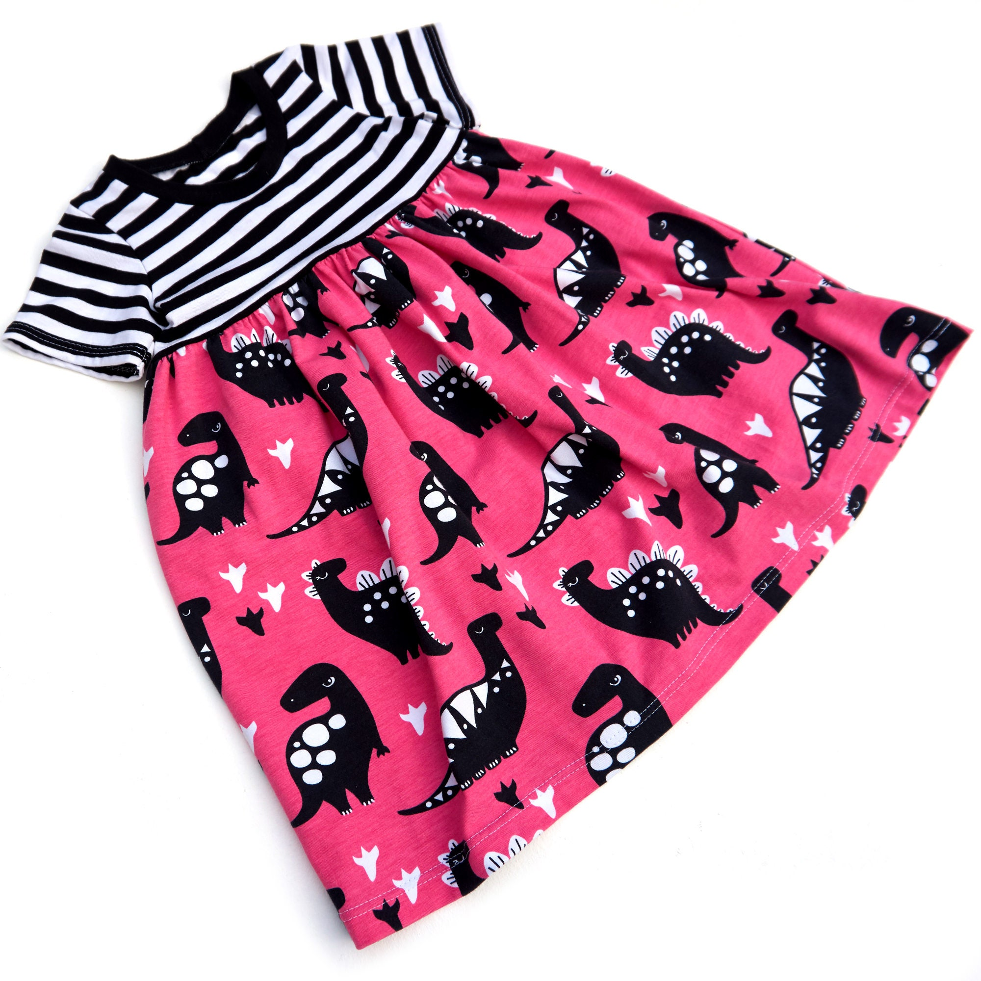 Childs Pink Dino Play Dress Organic Baby Clothes Toddler Clothes