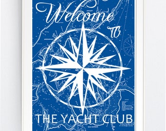 BEACH DECOR, wall art print, Nautical Star, yacht club,  BEAch Art, Welcome Sign, svg, Printable Art, Wall Decor, Beach Print