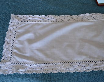 Vintage Lace Crochet White Tablerunner Tablecloth 51 X 13