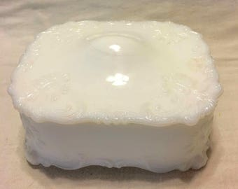 Milk Glass Covered Box