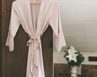 Bridesmaid Satin and Lace Bridal Robe Blushing Pink