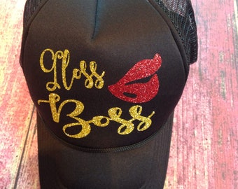Gloss Boss Glitter Hat. LipSense Hat. Glitter Lip Hat. Custom Trucker Hat. Lip Snapback. Cap. Younique Hat. Gift for Her. Glitter Hat. Lips.