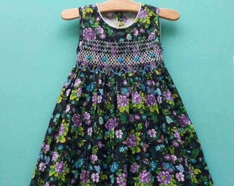 Girl's hand smocked hand embroidered spring summer dress