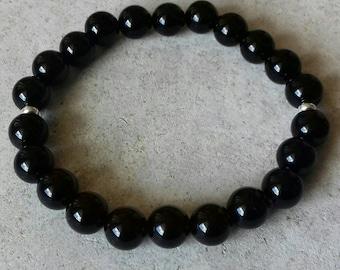Mens bracelet, womens bracelet, bead bracelet, mens blaxk bracelet, black onyx bracelet, stacking bracelet, stretch bracelet, UK jewellery