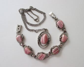 Rhodochrosite Necklace and Bracelet Set - Mid Century - Vintage Brutalist