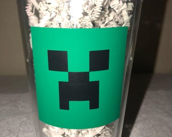 Minecraft Party Favors-Minecraft Tumbler-Minecraft glass-Creeper Favor-Minecraft Creeper Party Favor