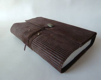"Height 18 cm book, book adaptable from Brown cowhide leather ""corduroy"""