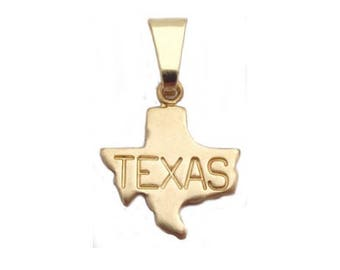 6 Texas  State Pendants Tiny Raw Brass with Bail