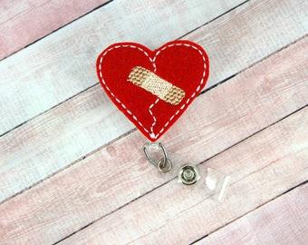 CHD Heart Badge Reel - CHD Badge - Awareness - Badge Reel - Feltie Badge Reel- Retractable ID Badge Holder - Badge Pull