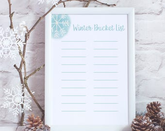 Winter Bucket List - Winter Printable - Christmas Printable - Winter Activities - Winter Decor - Winter Things to Do - Christmas Activities