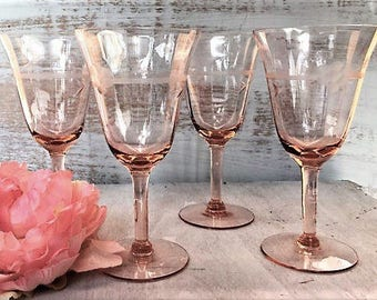 Set of Four Etched Crystal Pink Wine Glasses