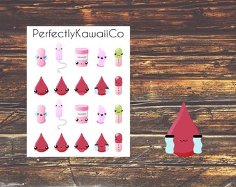 KCD03 Kawaii Face Period Stickers