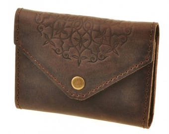 Personalized card wallet Card wallet for her Womans card case Womans brown wallet Card case for woman Leather card case
