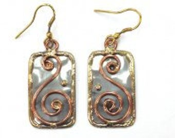 Mixed Metal Earrings, Copper Brass Earrings, Nickel Free Earrings, Handmade, Boho Chic