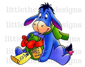 Eeyore Christmas Transfer,Digital Transfer,Digital Iron On,Diy