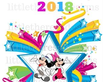 Mickey and Minnie Pastel New Year Star Transfer,Digital Transfer,Digital Iron Ons,Diy