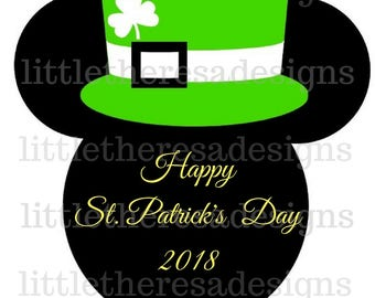 Happy St.Patrick's Day Mickey Head Digital Image,diy