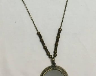 Antique Brass Necklace with Mirror Focal (#211)