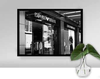 Armani Shop Wandkunst, Modefotografie Drucken, Monochrome Mode Fotodruck,  High Fashion Foto