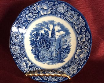 Saucer / Vintage / Liberty Blue Old North Church / Made in England / Liberty Blue Saucer / Replacement
