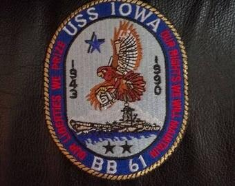 BB-61 Battleship USS Iowa, iron-on, retro military, navy naval patch, Kancolle