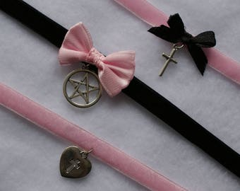 Pink and Black Pastel Goth Choker