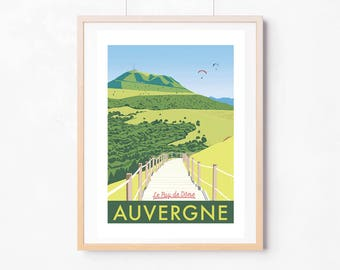 Displays the Puy de Dome Auvergne / retro / 42 X 59, 4 cm.
