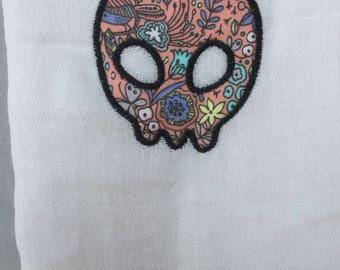 Skull applique tea towel
