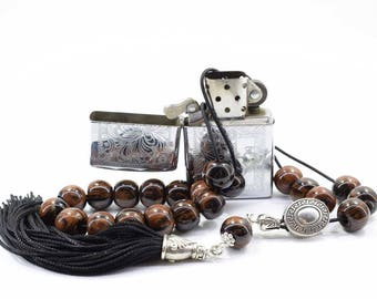 Brown Obsidian Komboloi, Worry Beads, Handmade Tassel, Greek Komboloi, Obsidian, Stress Relief, Gift for Him, Made in Greece, Tesbih