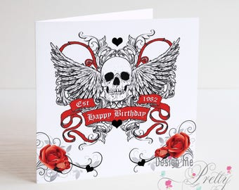 Skull and Wings Personalised birthday card
