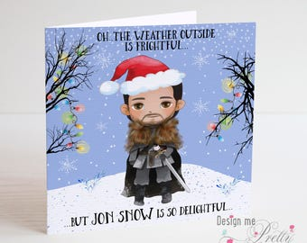 Game of Thrones Jon Snow Christmas Card - Xmas Card