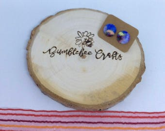 Round Fabric Covered Button Earrings - blue marble