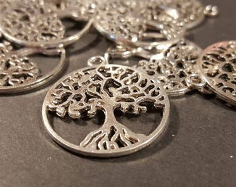 Round Silver Tree of Life  Pendant