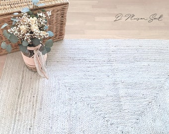 White Jute Rug. Natural Handwoven Rug. White Natural Rug.  Ivory Jute Rug. Scandi Rug. Nordic Home Decor. Eco Rug