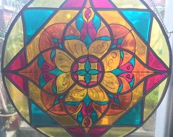 Mandala stained glass window suncatcher - geometric flower (customised)