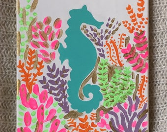 Lilly Pulitzer Inspired Sea Horse