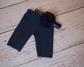Newborn Navy and Gold Pants and Headband Set-Newborn Girl Photo Prop